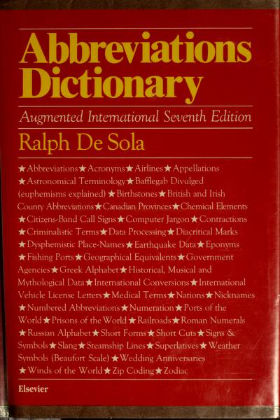 Abbreviations dictionary by Ralph De Sola, Ralph De Sola